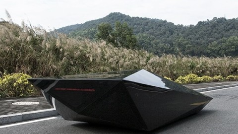 Square glass supercar that reminds a fighter jet stealth