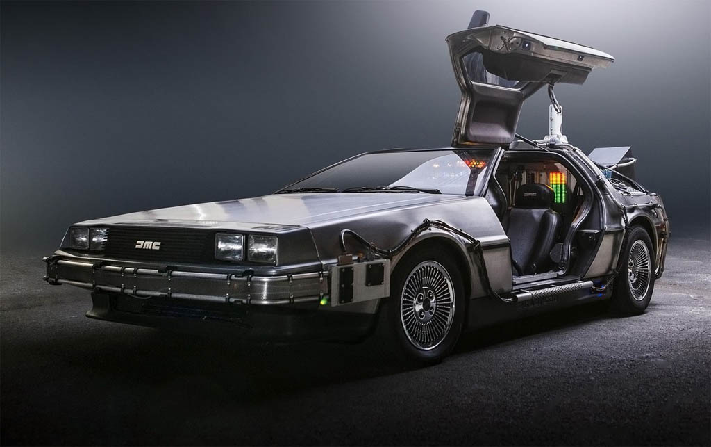 delorean flying car photography